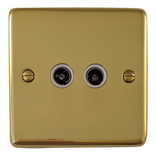 G&H CB36W Standard Plate Polished Brass 2 Gang TV Coax Socket Point